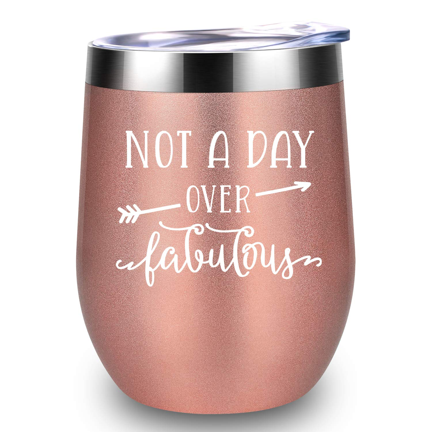 Not A Day Over Fabulous - LEADO Stainless Steel Wine Tumbler Insulated Novelty Glass w/Lid - Funny Birthday Mothers Day Christmas Gifts Ideas for Her Women - 30th 40th 50th 60th Party Decorations