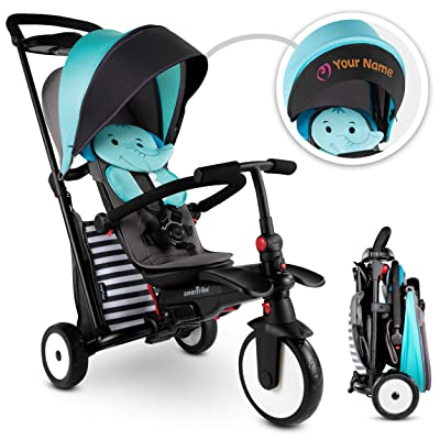 smarTrike STR5 Folding Toddler Tricycle for 1, 2, 3 Year Old with Customized Embroidery - 7 in 1 Multi-Stage Trike, Blue : Sports & Outdoors