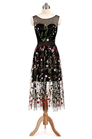 cac2e8175df Haokeda Women s Vintage Floral Embroidered Tulle Prom Dress 3 4 Sheer Sleeve  Maxi Dress(