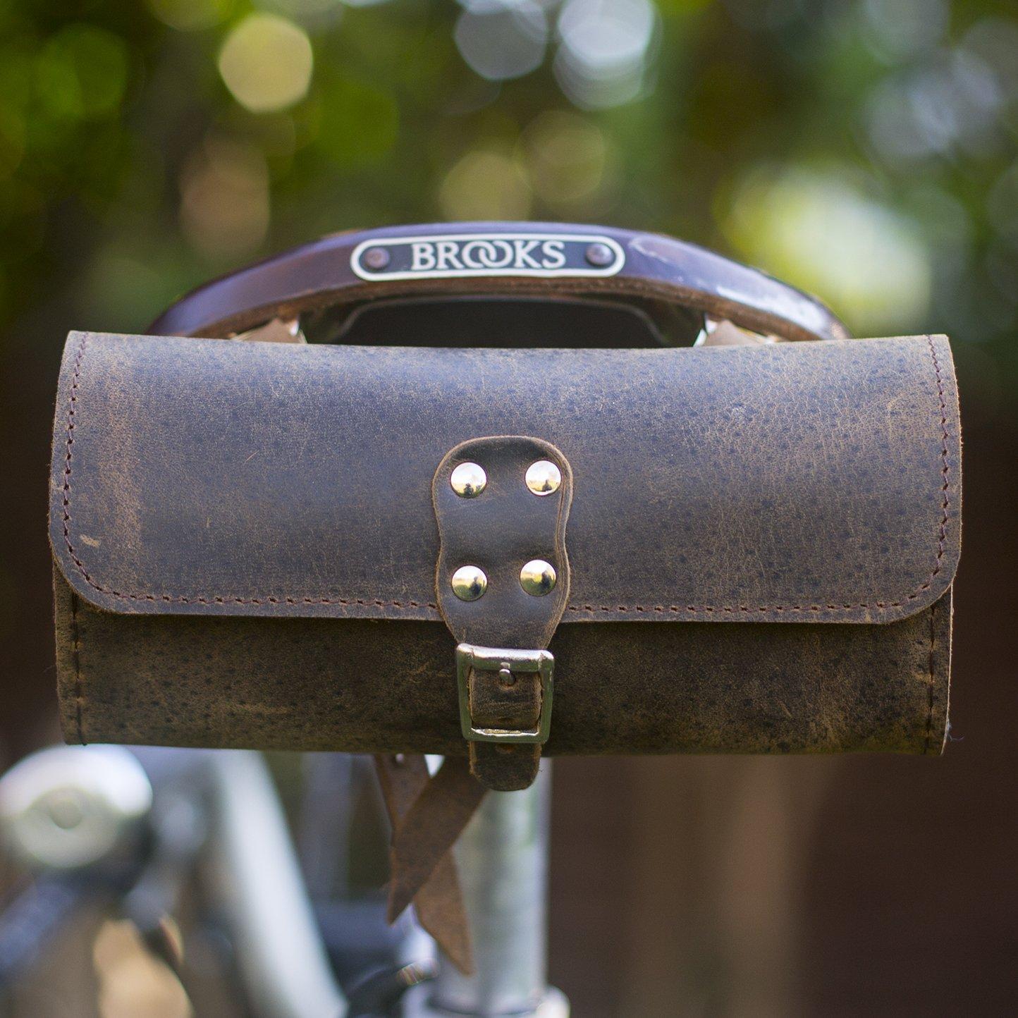 Bicicleta sillín Bolsa Raw marrón Vintage de piel auténtica estilo (marrón) London Craftwork