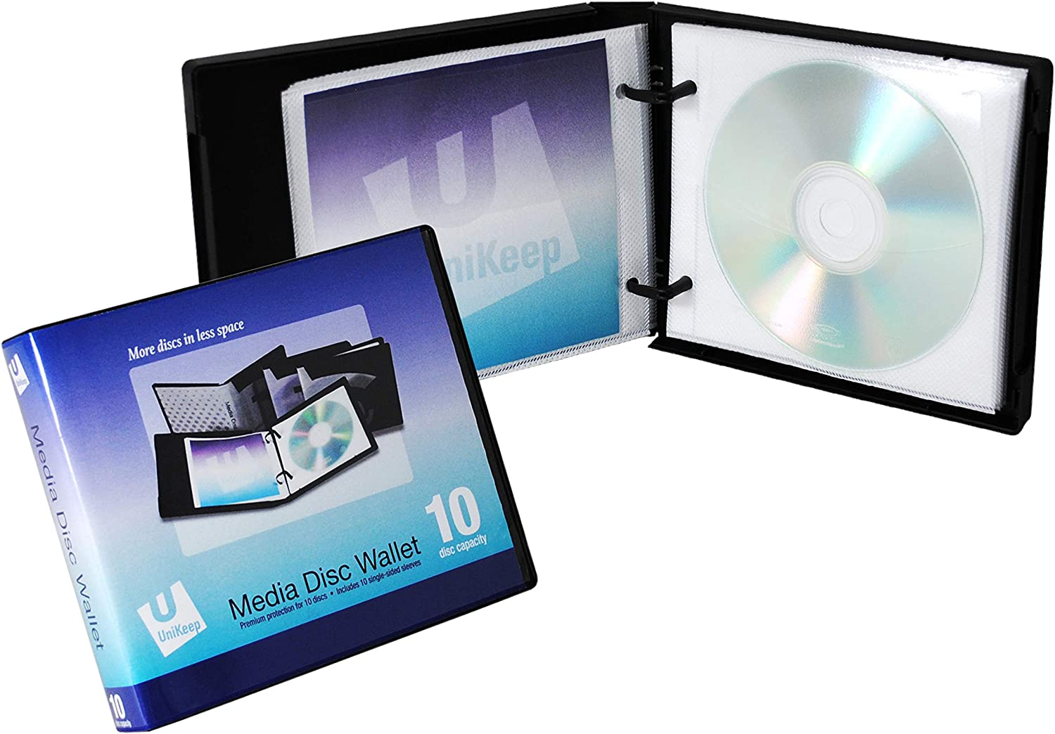 UniKeep Disc 10 CD//DVD Wallet with 10 Pages Pack of 3