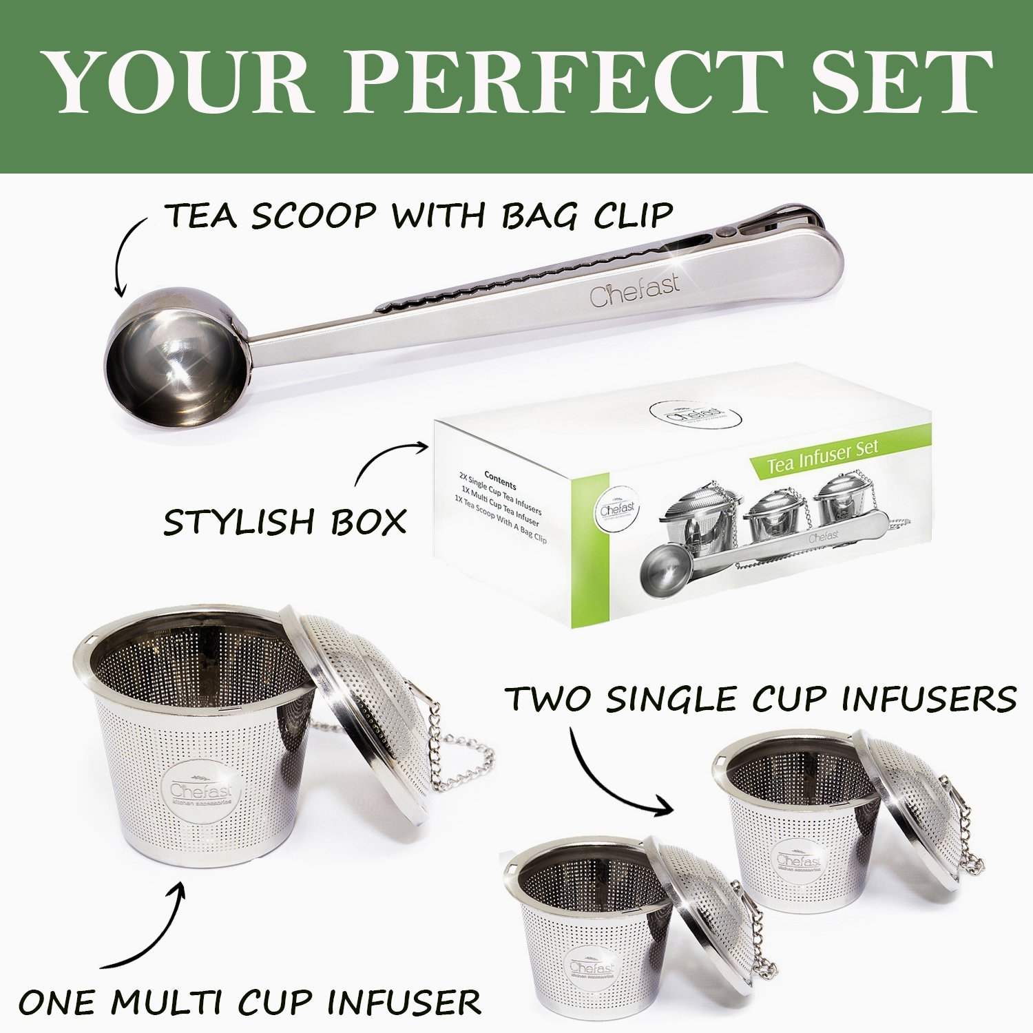 Tea Infuser Set by Chefast (2+1 Pack) - Combo Kit of 1 Large and 2 Single Cup Loose Leaf Infusers, Plus Metal Scoop with Clip - Reusable Stainless Steel Strainers | Diffusers | Balls | Steepers by Chefast (Image #2)