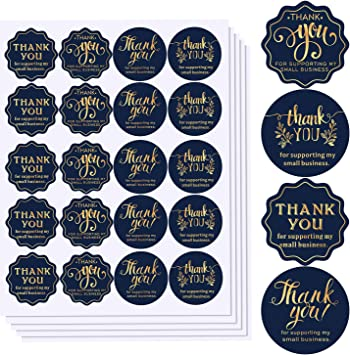 Online Retailers Shops to Use on Bags Round Labels for Business 500 Labels Per Roll 4 Designs Golden Font 1.5 Thank You for Supporting My Small Business Stickers Boxes and Envelope Boutiques