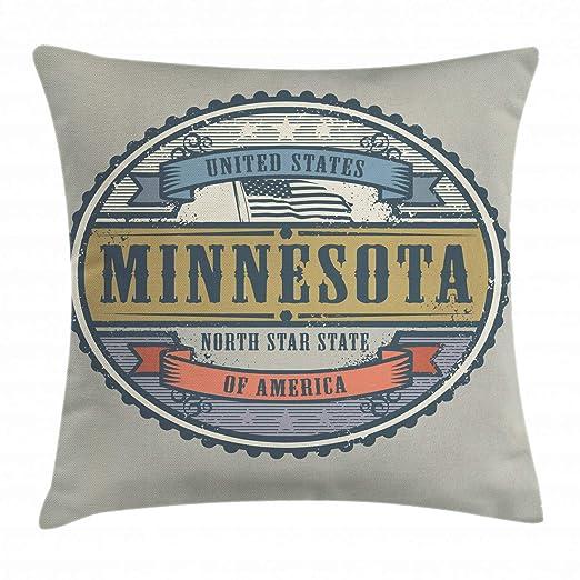 Ambesonne Minnesota Funda de cojín, Letras del Estado de ...