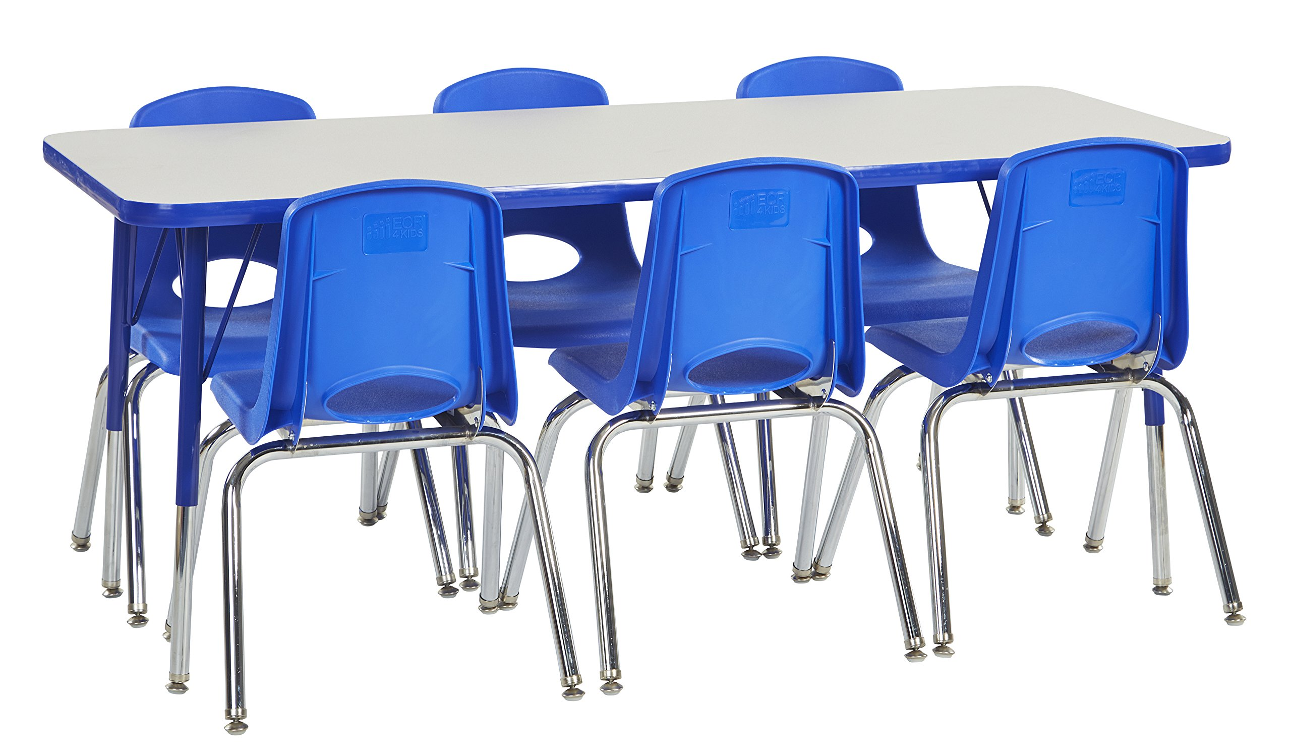 ECR4Kids 24'' x 60'' Rectangular Activity Table, Gray Top/Blue Edge, Toddler Legs/Swivel Glides, Six 10'' Blue School Stack Chairs