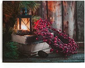 """NIKKY HOME 16"""" x 12"""" Christmas LED Lighted Canvas Wall Art Prints with Red Berry Wreath and Candle Lantern Picture for Holiday Decor"""