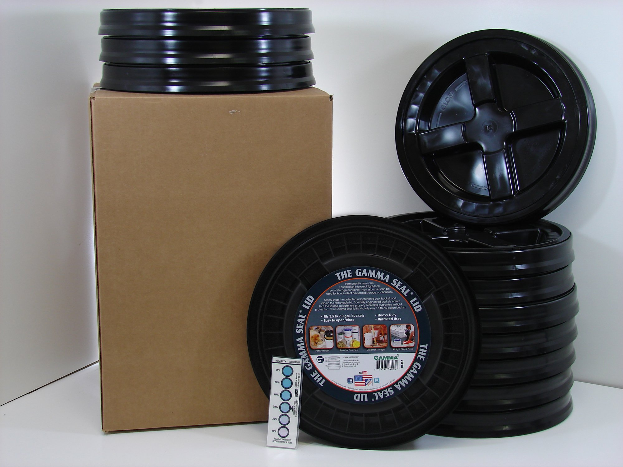 Gamma Seal Lid, Black, 12 Pack - New! - Boxed! - 5 Gallon Bucket Lids (Fits 3.5, 5, 6, 7 Gal.) Storage Container Lid