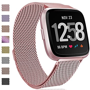 HUMENN for Fitbit Versa Strap Bands, Luxury Milanese Stainless Steel  Adjustable Smart Watch Strap with Magnetic Closure for Fitbit Versa/Fitbit  Versa