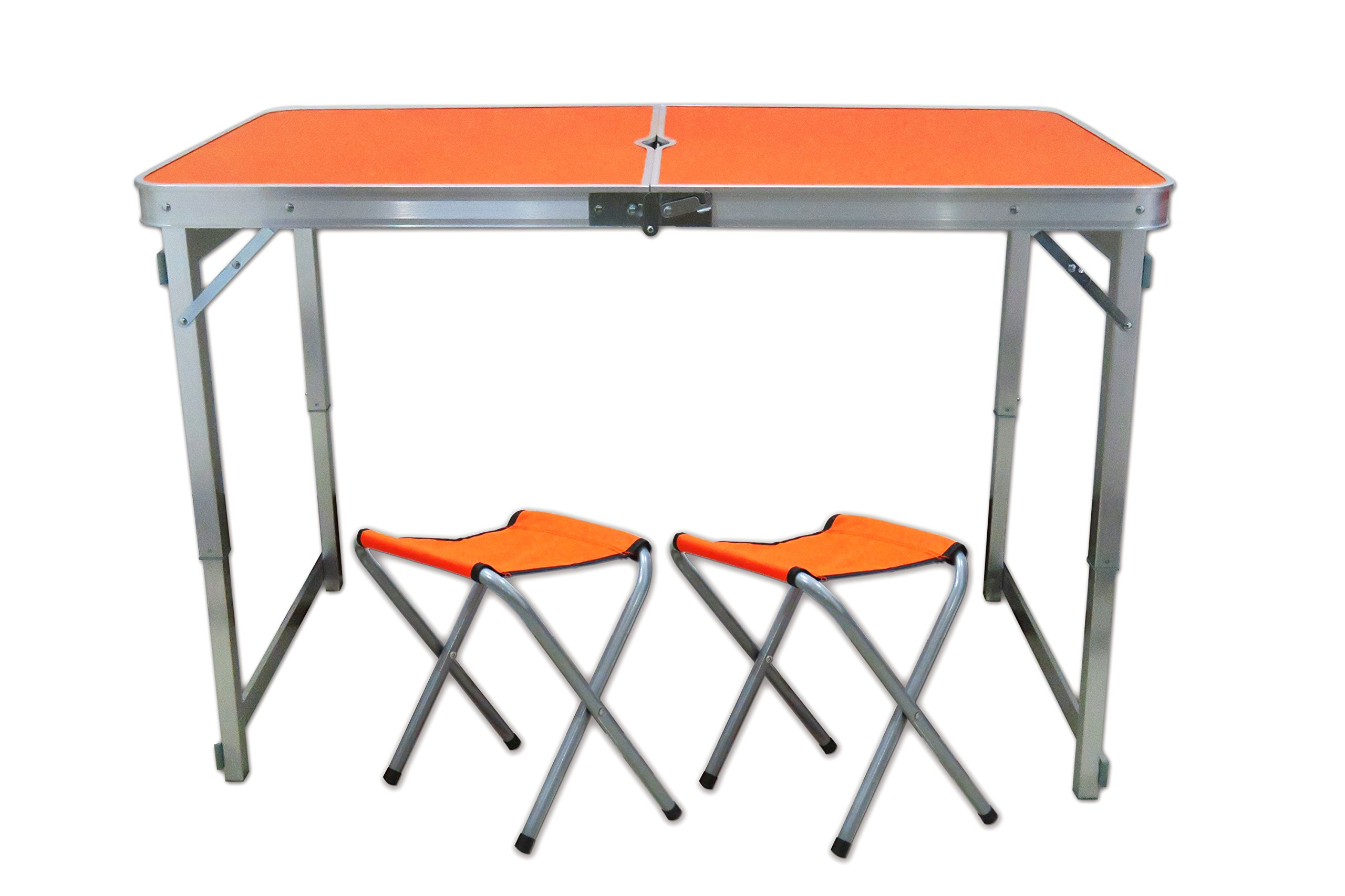 Littlefun Folding Adjustable Height Table Aluminum for Portable Camping Picnic Family Party with 2 Chairs (Jacinth)