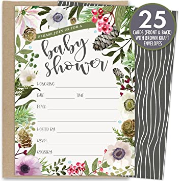 Winter Baby Shower Invitations With Rustic Florals Set Of 25 Fill In The Blank