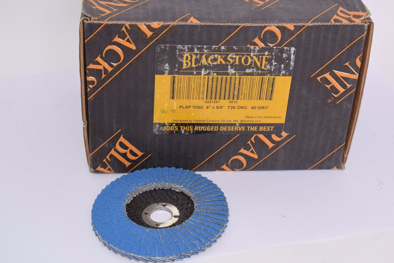 Lot of 10 Blackstone 0281247-0010 4'' x 5/8''-11 Flap Disc