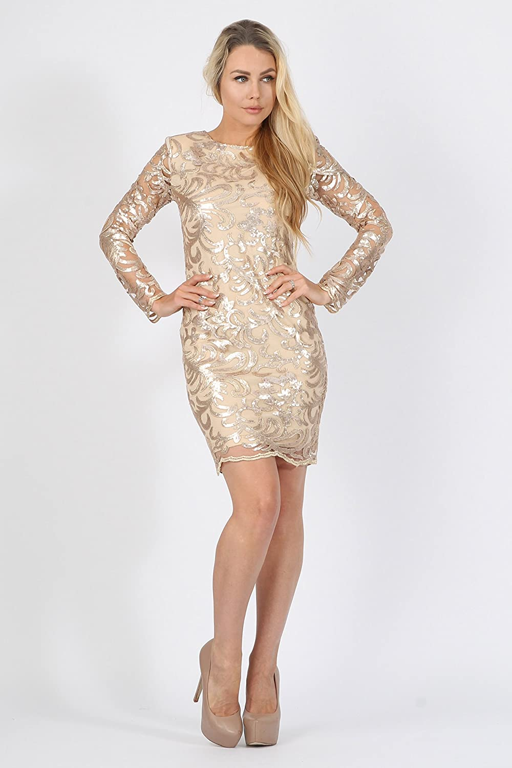 bf6d612214a MISSI LONDON Gold Mesh Floral Sequin Bodycon Party Dress (8)  Amazon.co.uk   Clothing