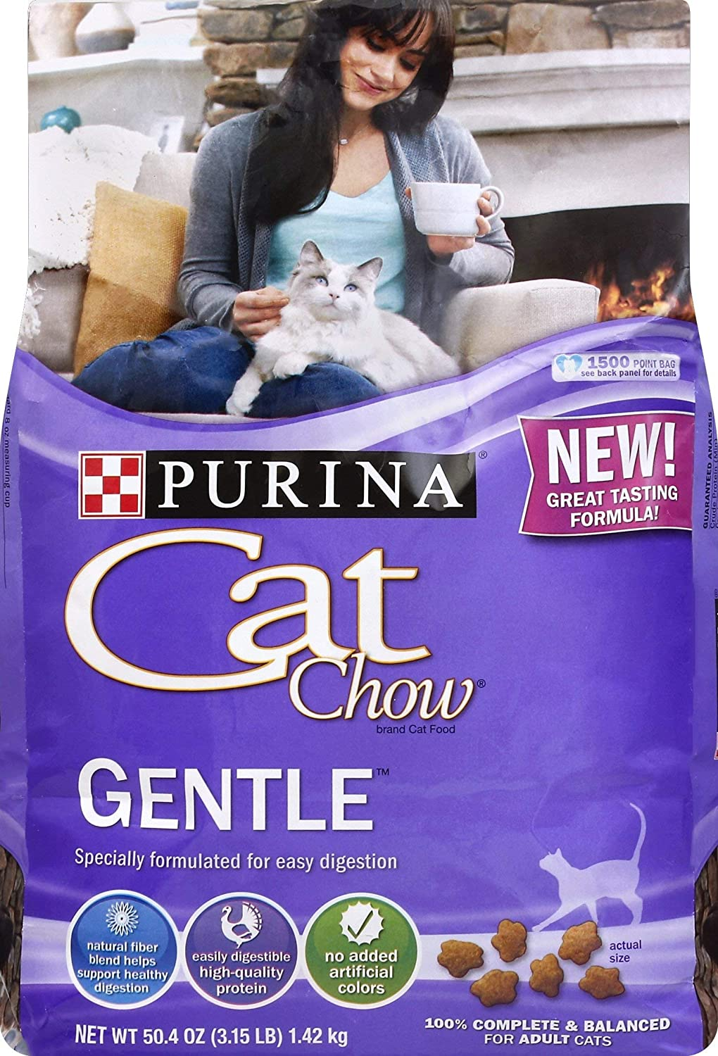 Purina Cat Chow Dry Cat Food, Gentle, 3.15 Lb Bag