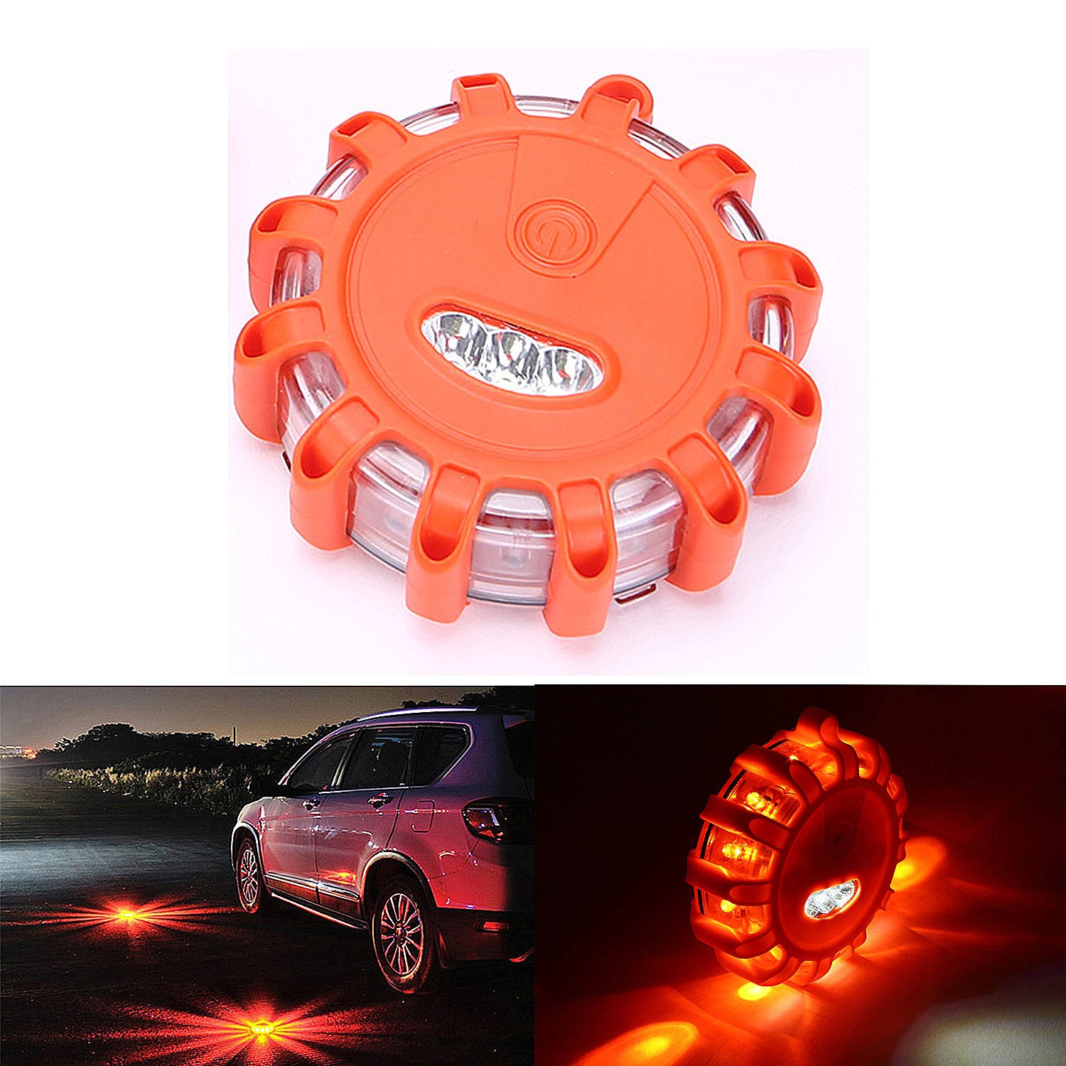 CICMOD Road Flare Flashing Emergency Signal Warning LED Light for Car Truck (Pack of 6)