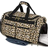 Weekender Overnight Duffel Bag Shoe Pocket for Women Men Weekend Travel Tote Carry On Bag (Brown)