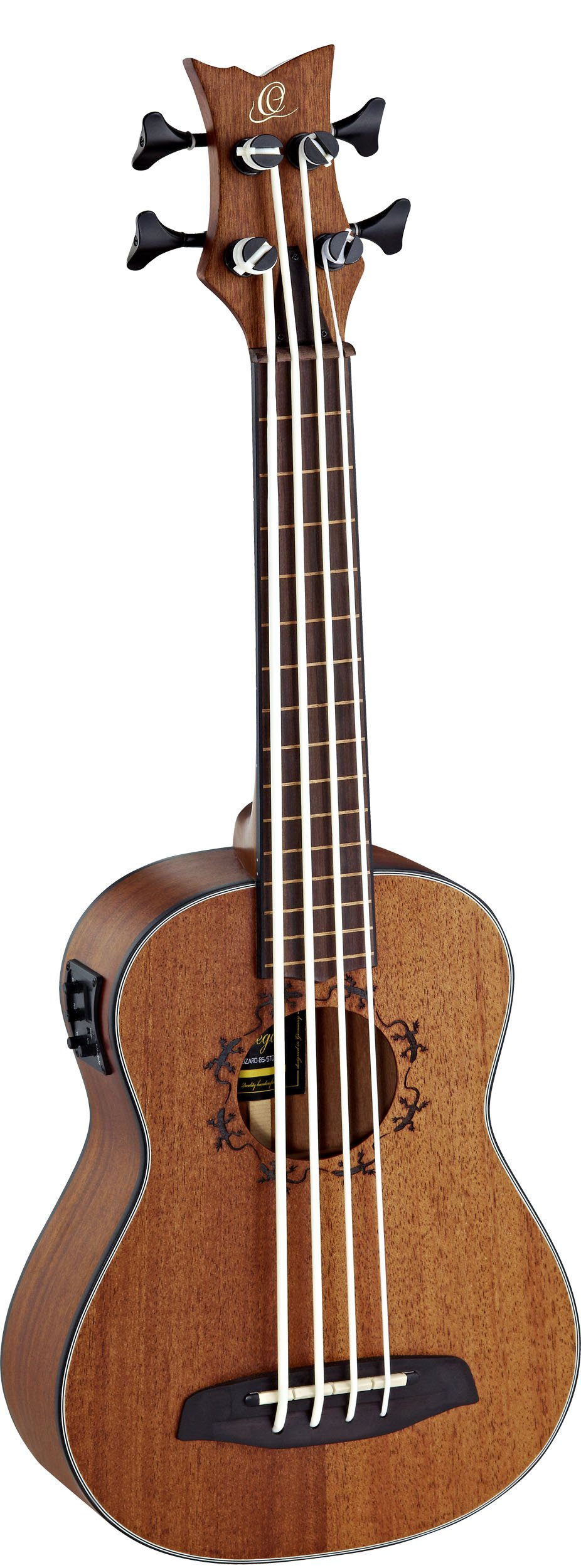 Ortega Guitars LIZZY-BSFL-GB Lizard Series Lined Fretless Uke Bass with Mahogany Top and Body, Stain Finish