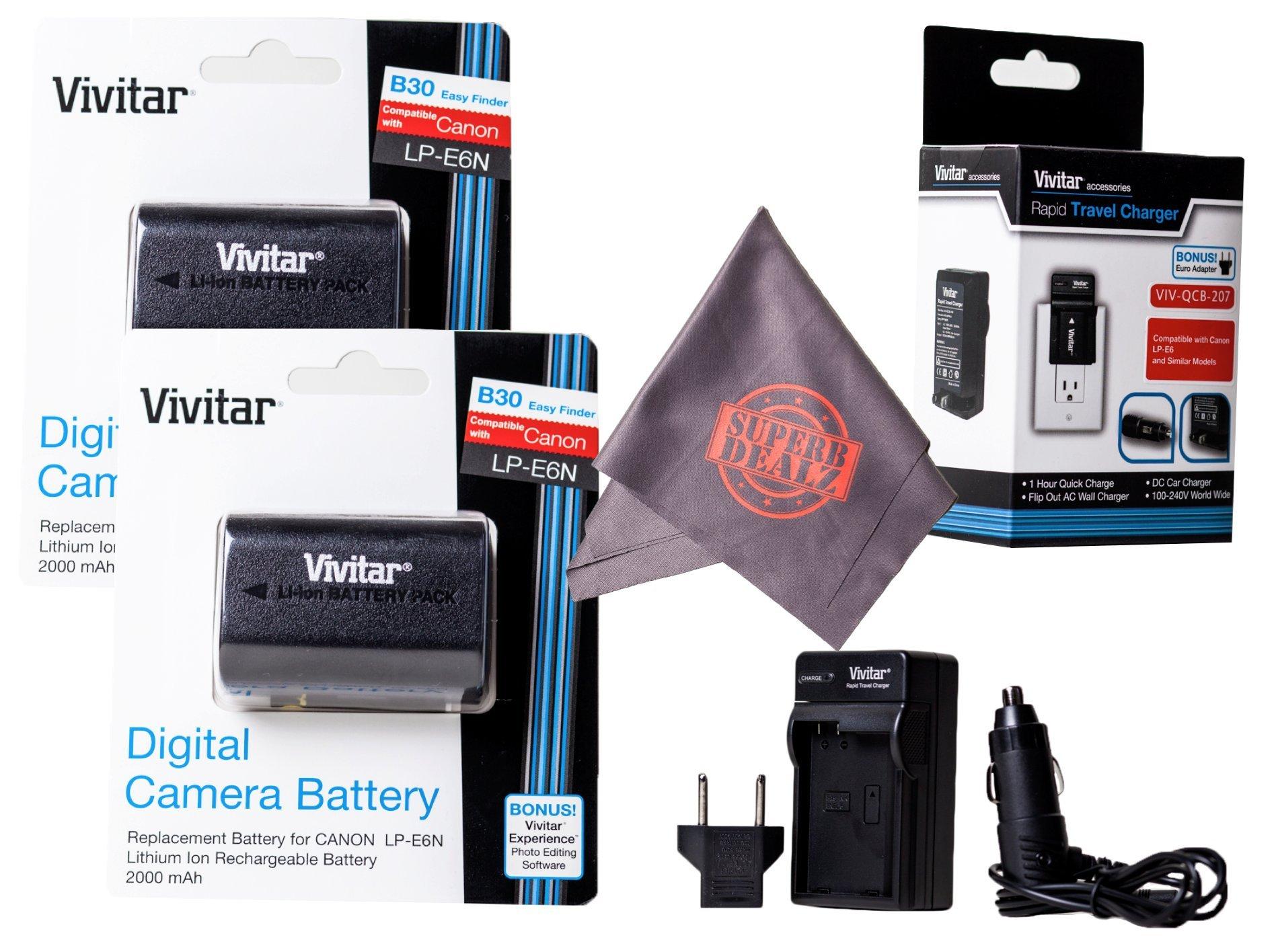 2 Pack of LP-E6 / LP-E6N Vivitar Ultra High Capacity Rechargeable 2000mAh Li-ion Batteries + AC/DC Vivitar Rapid Travel Charger + Microfiber Lens Cleaning Cloth LPE6 (Canon LP-E6 Replacement)