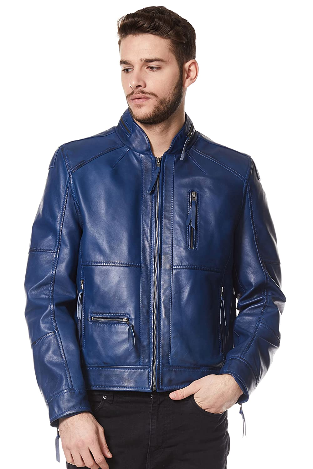 Men's 9056 Classic Style Blue Zipcollar Designer Wax Casual Soft Leather Jacket