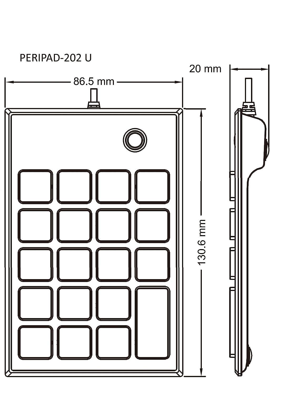 Numeric Keypad for Laptop Black Big Print Letters Tab Key Feature Perixx 11251 PERIPAD-202UB Full Size 19 Keys USB Silent X Type Scissor Keys