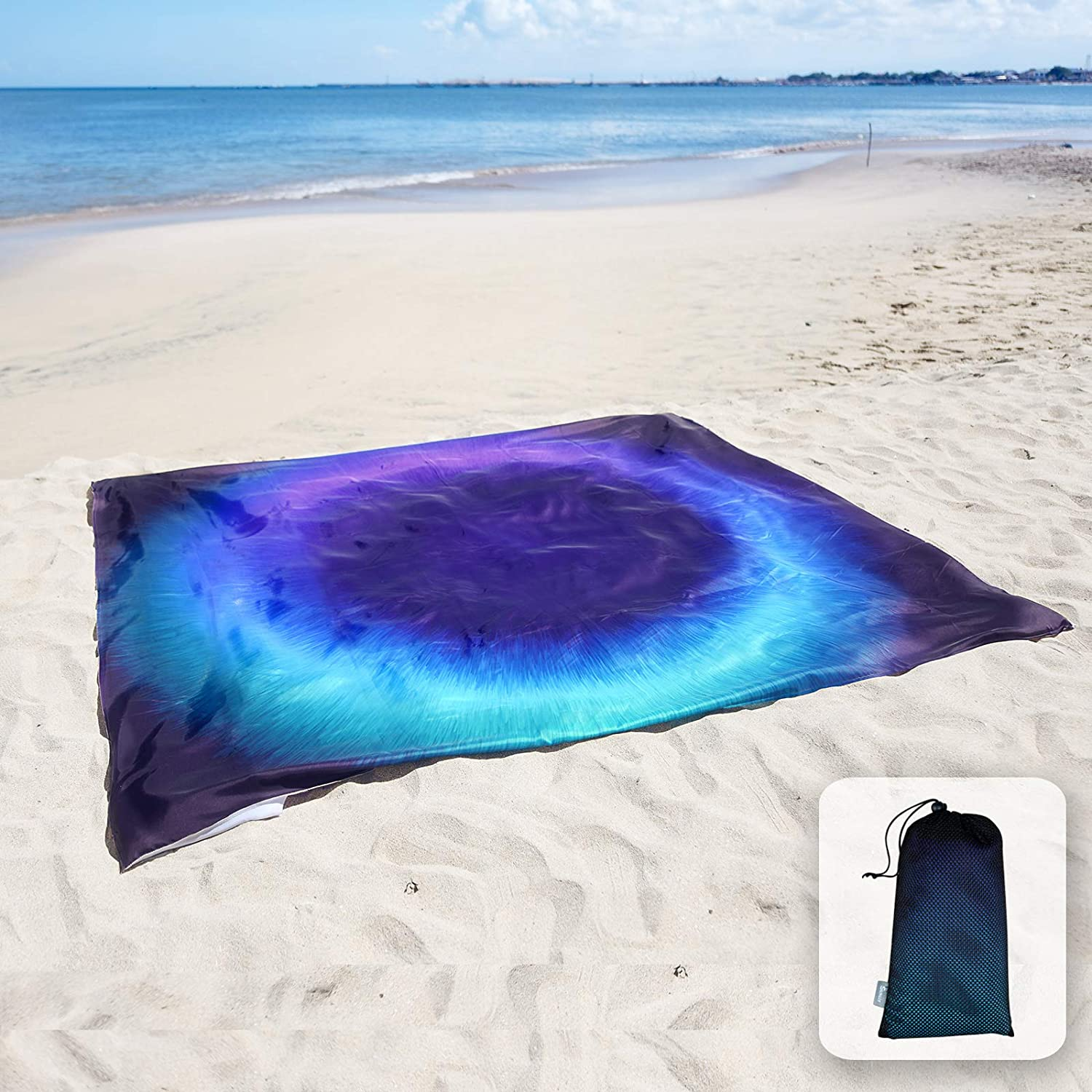Sunlit Silky Soft Sand Proof Beach Blanket Sand Proof Mat with Corner Pockets and Mesh Bag 6' x 7' for Beach Party, Travel, Camping and Outdoor Music Festival, Dark Blue Ring, Black Hole