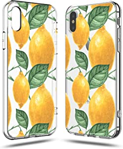 iPhone X Girls Case,iPhone Xs Case Women,Love Lemon Cute Funny Tropical Fruits Vacation Series Hipster Aloha Summer Hawaii Sweet Sassy Chic Simple Yellow Orange Clear Soft Case Compatible for iPhone X
