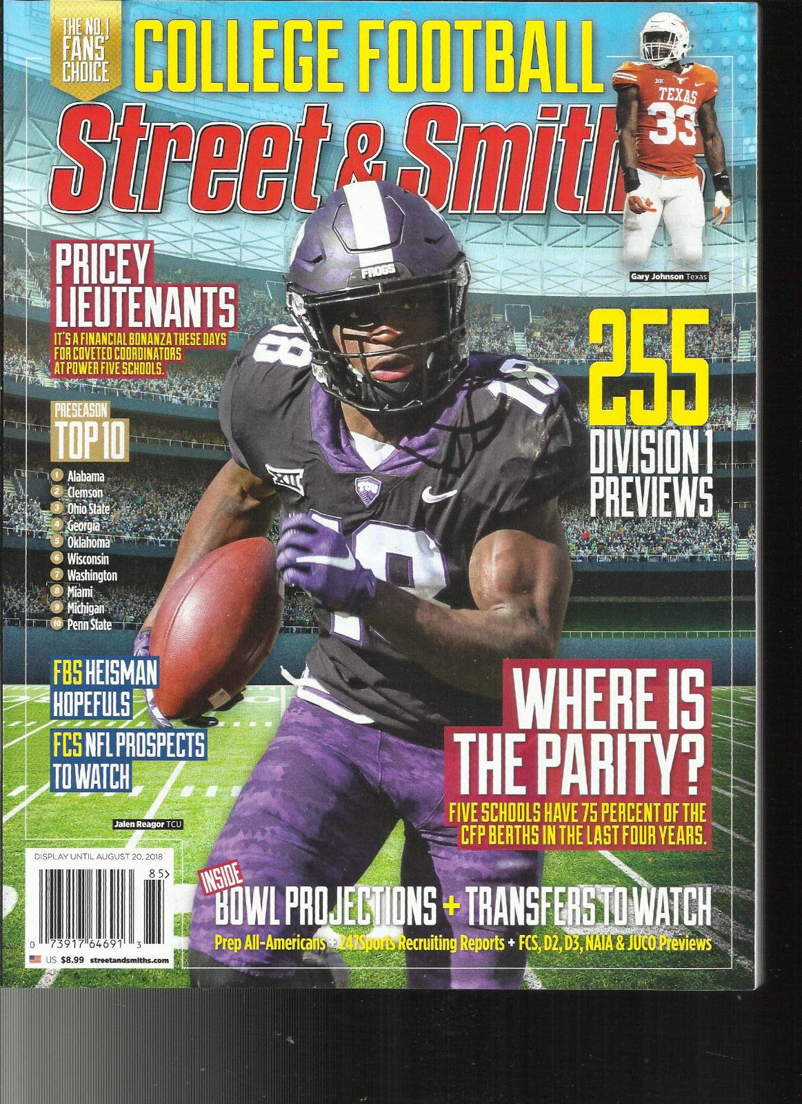 STREET & SMITH, MAGAZINE, COLLEGE FOOTBALL ISSUE, 2018 255 DIVISION 1 PREVI