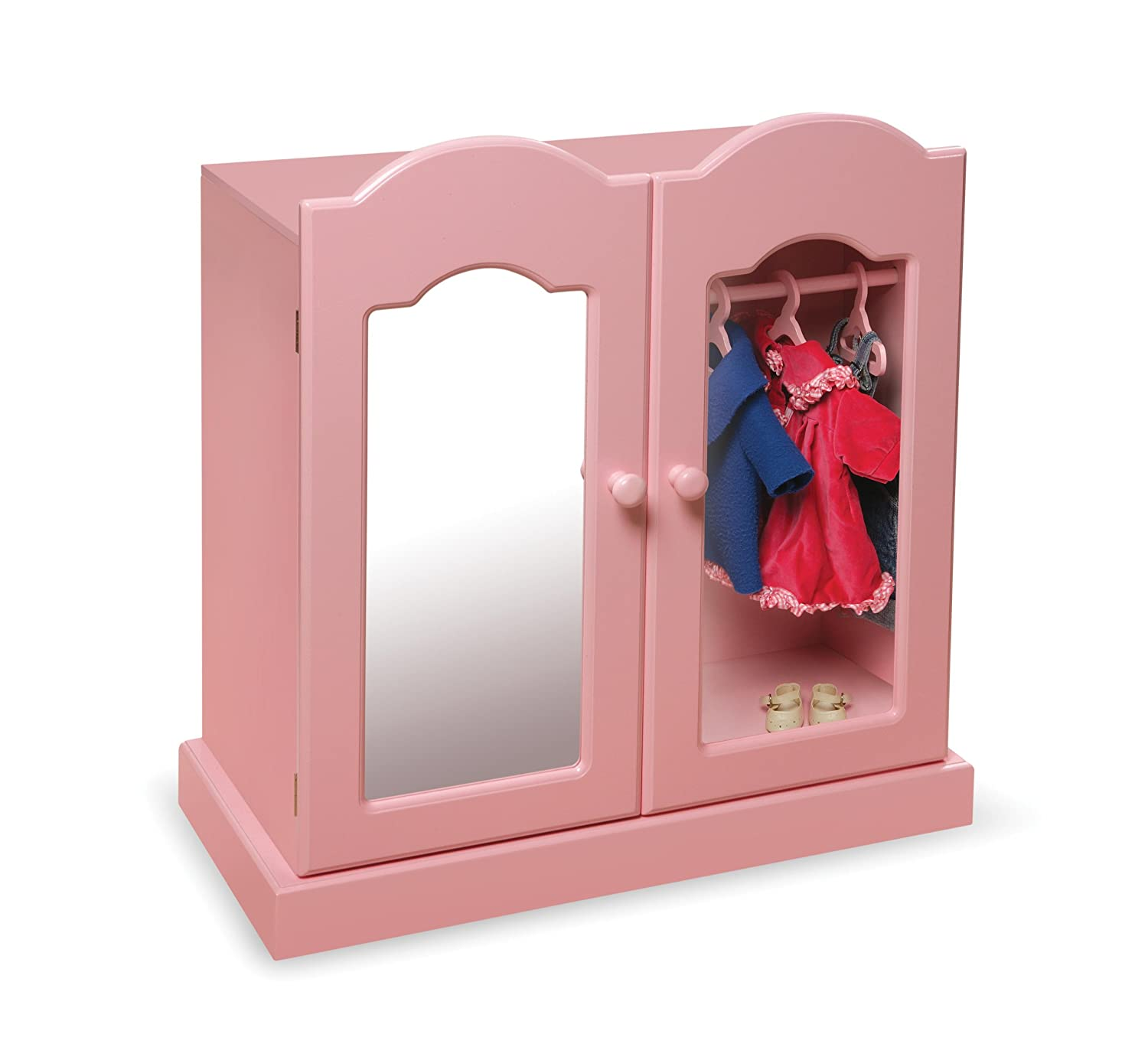 Etonnant Amazon.com: Badger Basket Mirrored Doll Armoire With 3 Baskets And 3  Hangers   Pink (fits American Girl Dolls): Toys U0026 Games
