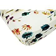 100% Organic Bamboo Fitted Crib Sheet - White Floral. Best for Standard Crib Mattresses for Healthier and Safer Infant and Toddler Sleeping. Perfect for Children with SPD Sensory Challenges!