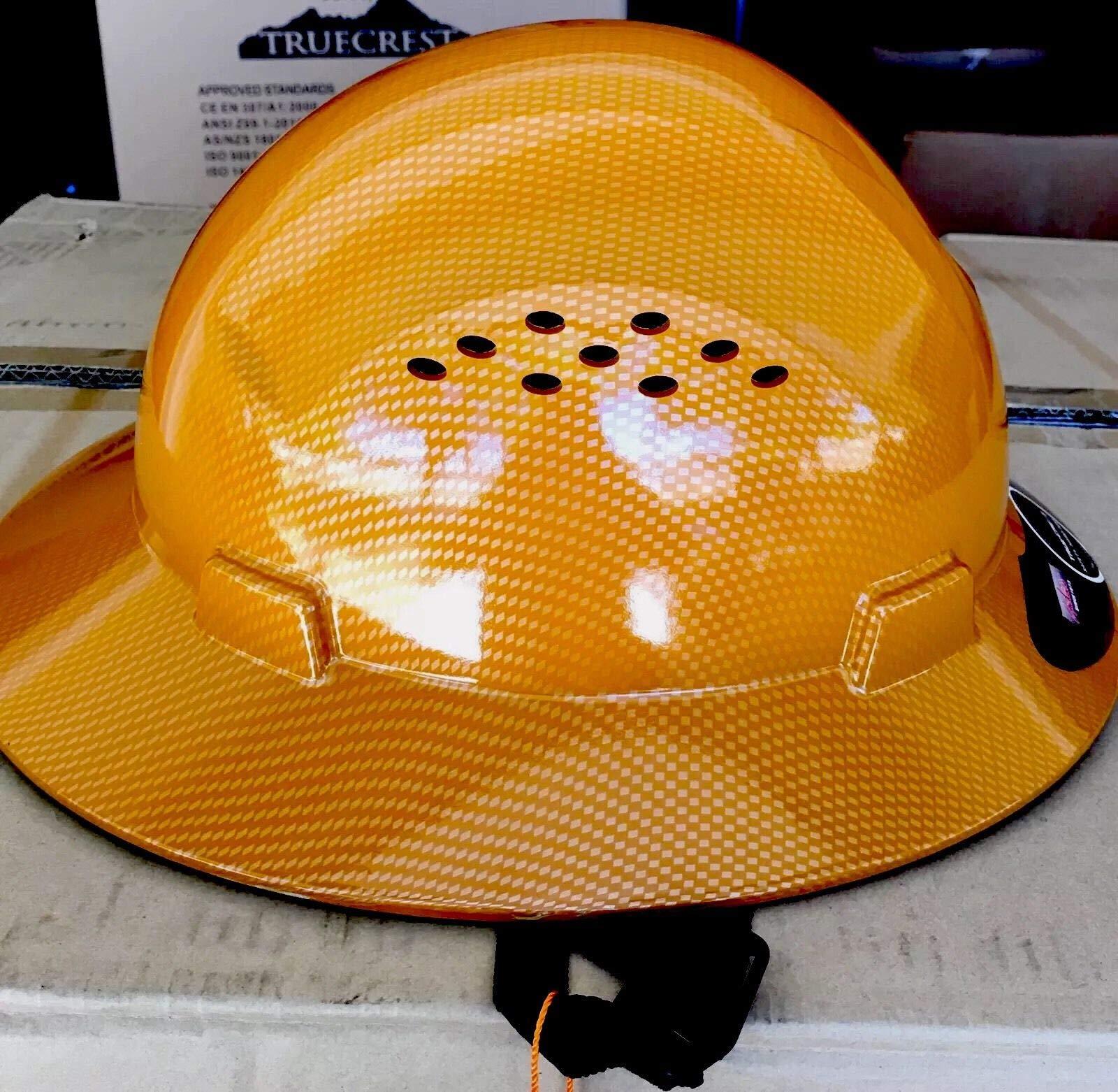HNTE-TAN Fiberglass Hard Hat Safety Full Brim Helmet, Nylon Ratchet Suspension, 4-Point, {Top Impact} Safety Hard Hat Cool Air Flow Vent System by Truecrest Safety Helmet (Image #2)
