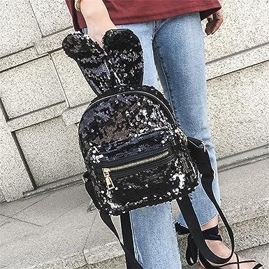 86f3fd868394 Amazon.com | Bling Sequins Backpack Cute Big Rabbit Ears Double ...
