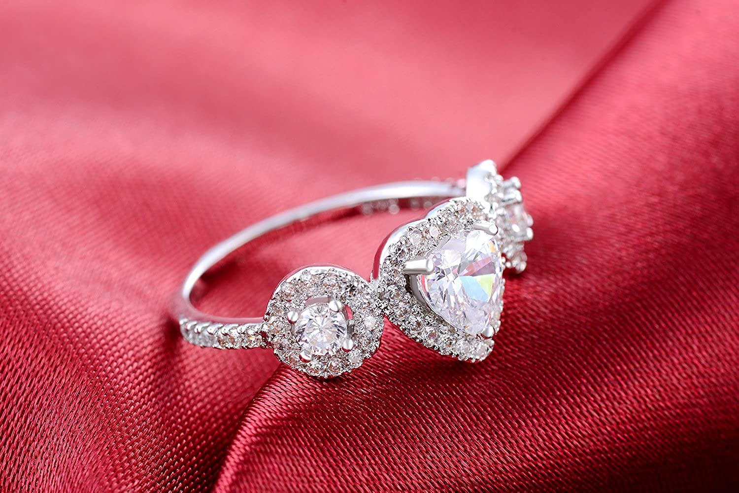 Amazon.com: Superhai Classic Heart-Shaped Diamond Ring Wedding Ring ...