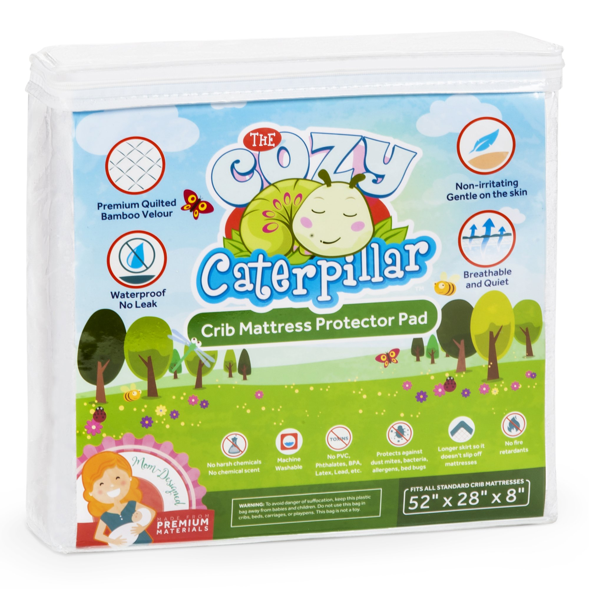 The Cozy Caterpillar Luxuriously Soft & Quilted Baby Crib Mattress Protector Pad | 100% Waterproof | Made of Bamboo Velour | Hypoallergenic | Eco-Friendly | Washer & Dryer Safe | No Harsh Chemicals