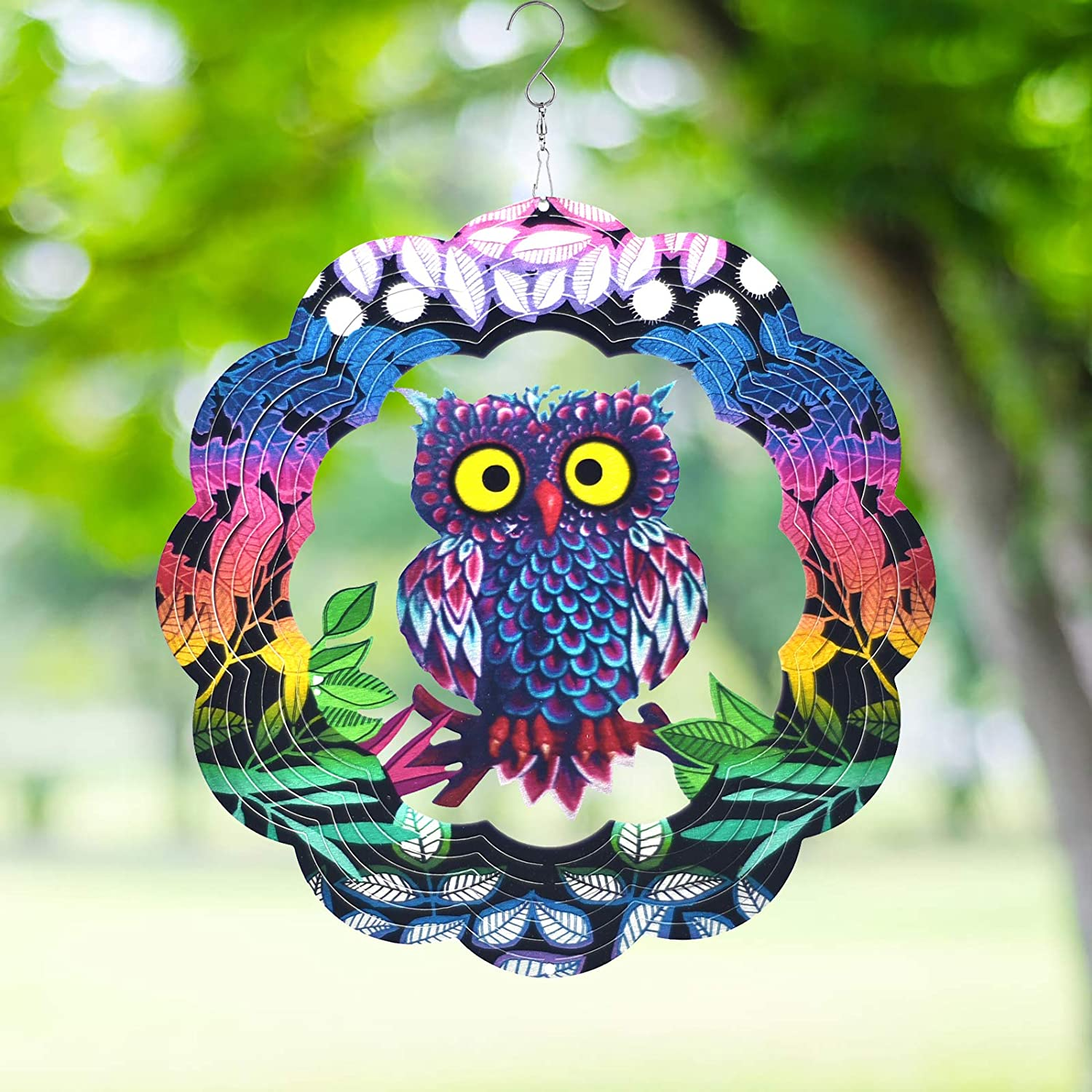Wind Spinner Yard Art Garden Decor 3D Stainless Steel Metal Sculptures Owl Kinetic Hanging Whirligig Decorations Backyard Outside Indoor Outdoor Patio and Lawn Ornaments Clearance Sun Catcher Windmill