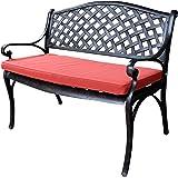 Lazy Susan Furniture - Jasmine Metal Garden Bench, Antique Bronze (Terracotta cushion)