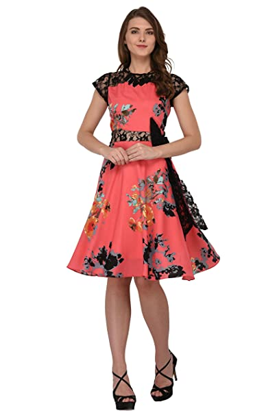 a0e6556cba2a Raas Prêt Women s Crepe Floral Printed Skater Dress (Pink