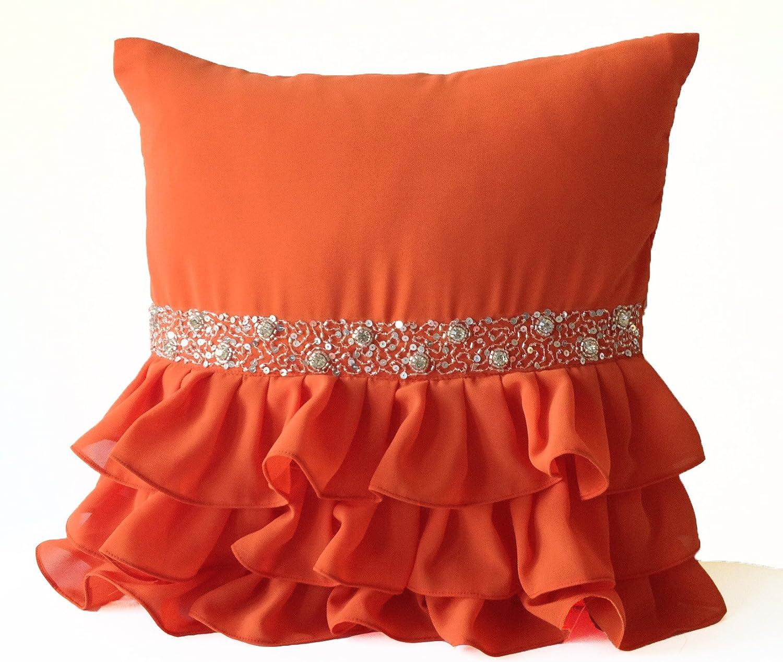 Amore Beaute手作りオレンジスロー枕ケースwith Ruffles 定価 andシルバースパンコールHand embroidery-装飾スロー枕カバー ndash; オレンジジョーゼット枕カバー ソファpillows-ギフト 26