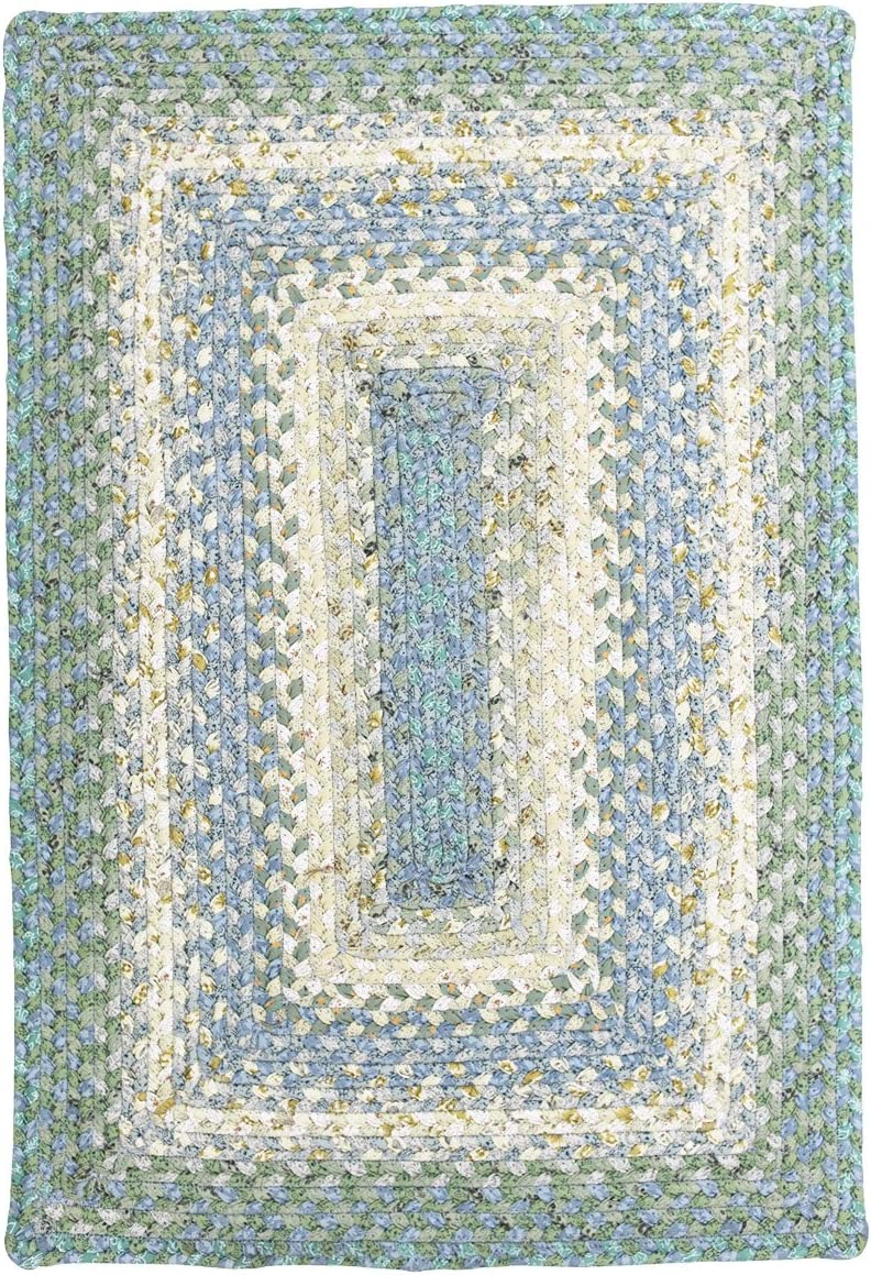 Farmhouse Oval Braided Rugs Blue White 2 X 3 Cotton Kitchen Braided Reversible Throw Rug