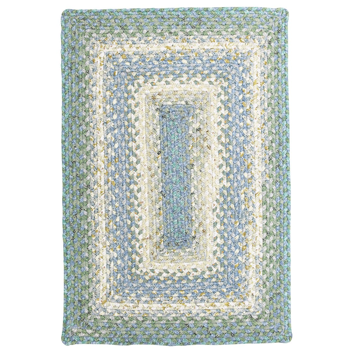 Homespice Rectangular Cotton Braided Rugs, 4-Feet by 6-Feet, Baja Blue