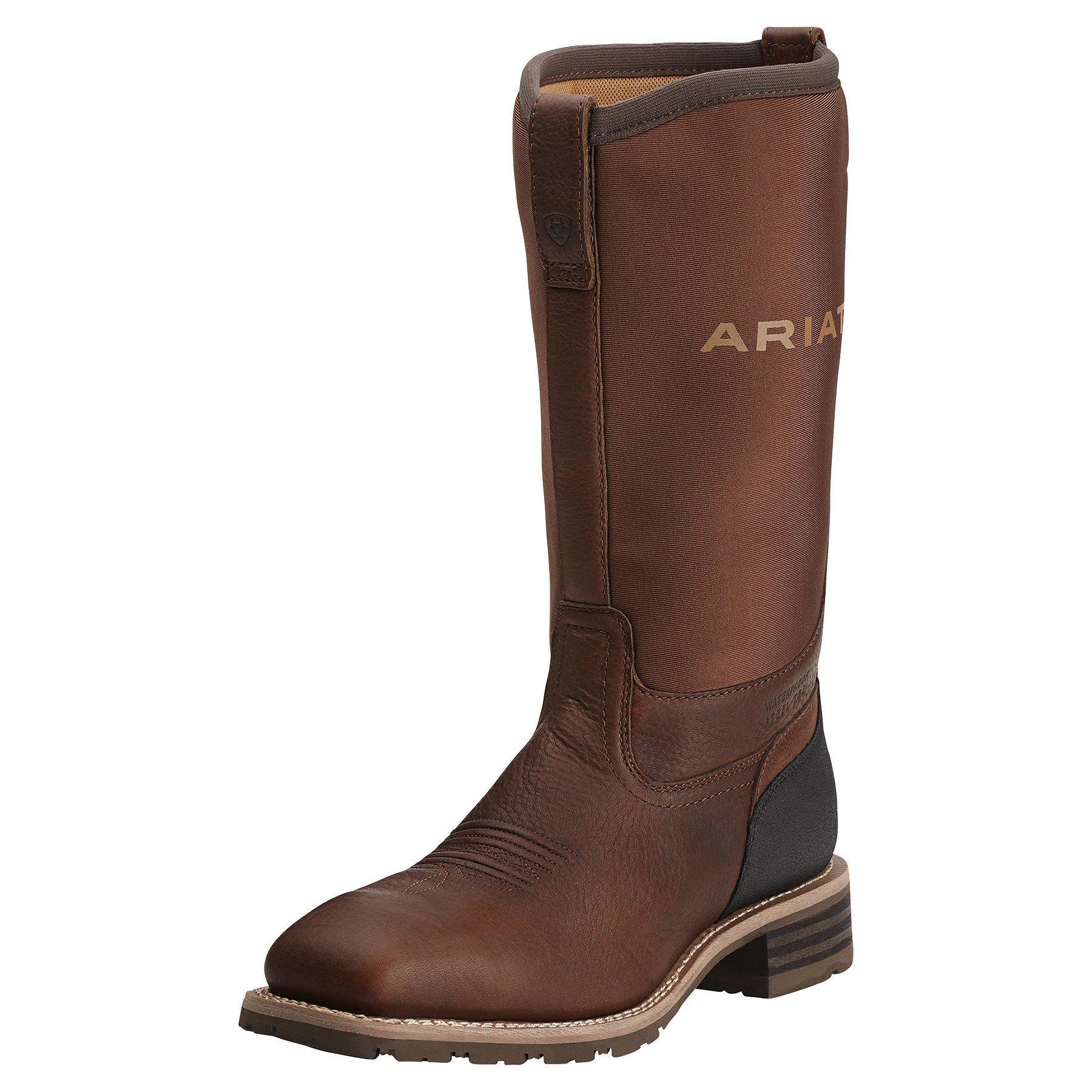 Ariat Men's Hybrid All Weather Steel Toe Western Cowboy Boot, Oiled Brown/Brown Neoprene, 10.5 M US