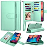 Takfox Galaxy A10e Case, Galaxy A10e Wallet Case PU Leather Wallet Flip with 9 Card Slots/Holder [Wrist Strap] Magnetic Detac