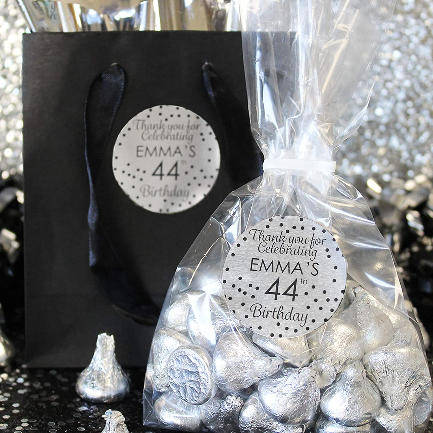 SILVER STAR stickers Personalised Favours Thank you gift seals Party favor 50!