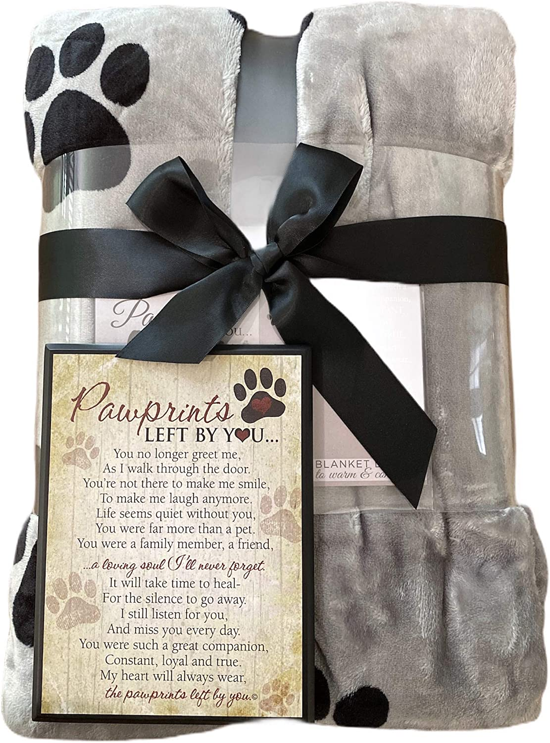 Comforting Pet Loss//Pet Bereavement Gift Pawprints Left by You Personalized Pet Memorial Blanket with Heartfelt Sentiment Personalized