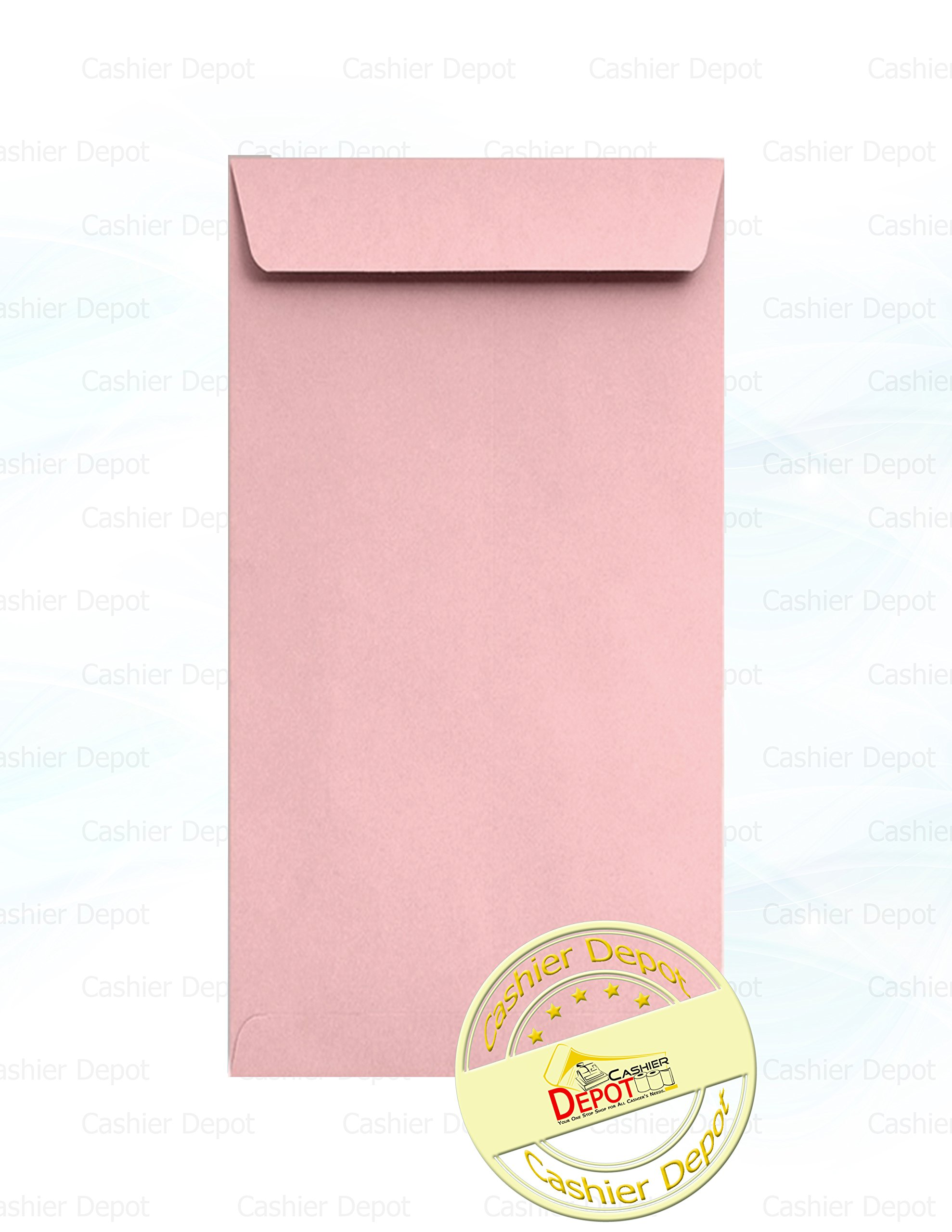 Cashier Depot #7 Coin Envelope, 3 1/2'' X 6 1/2'', 24lb, 50 Count (Pink)