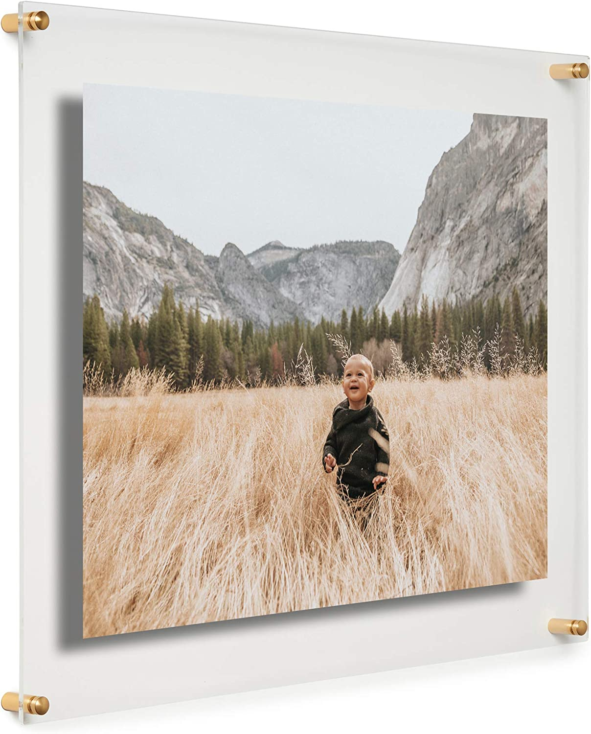 Cool Modern Frames Clear Floating Double Panel Acrylic Picture Frame 16x20 Inch Gold Hardware Amazon Co Uk Kitchen Home