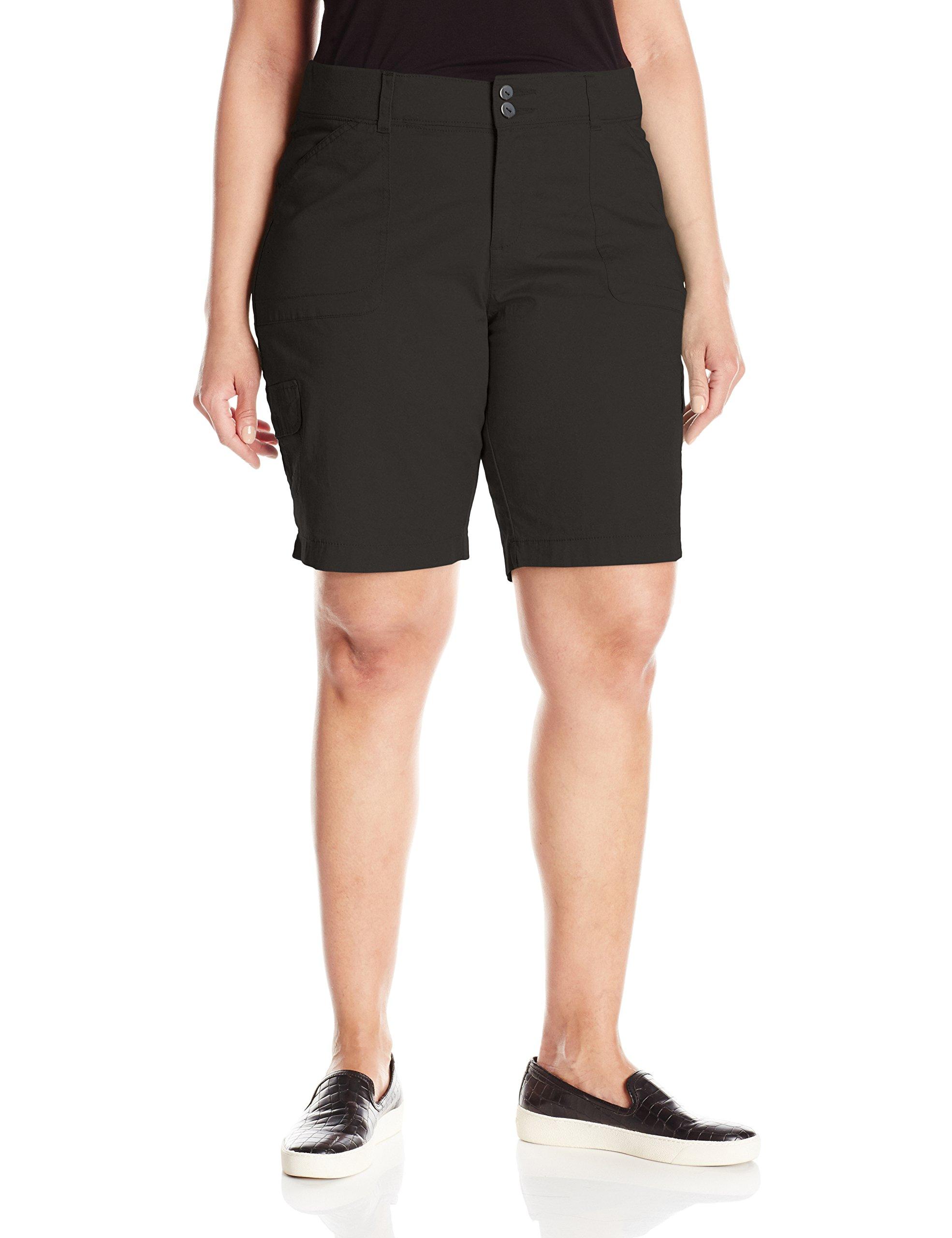 Lee Women's Plus-Size Relaxed Fit Avey Knit Waist Cargo Bermuda Short, Black, 24W/Medium