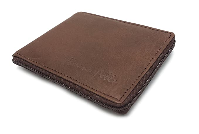 Buono Pelle Zip Around Distressed Real Leather Wallet Credit Card Holder Purse Medium Brown