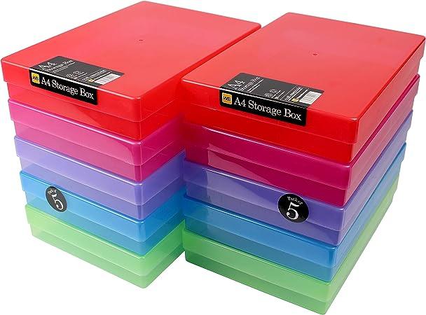 WestonBoxes - Caja de almacenamiento A4 para papel A4 y manualidades (Colores mezclados, Paquete de 10): Amazon.es: Oficina y papelería