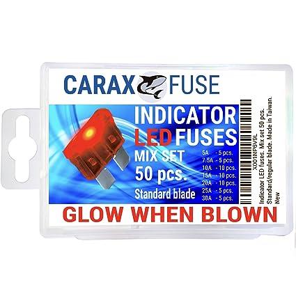 CARAX Fuse Standard Blade - Smart Glow Fuse - Car Fuse Kit Automotive  ATC/ATO - Fuses Assortment Replacement Kit - Easy Identification -  Illuminating