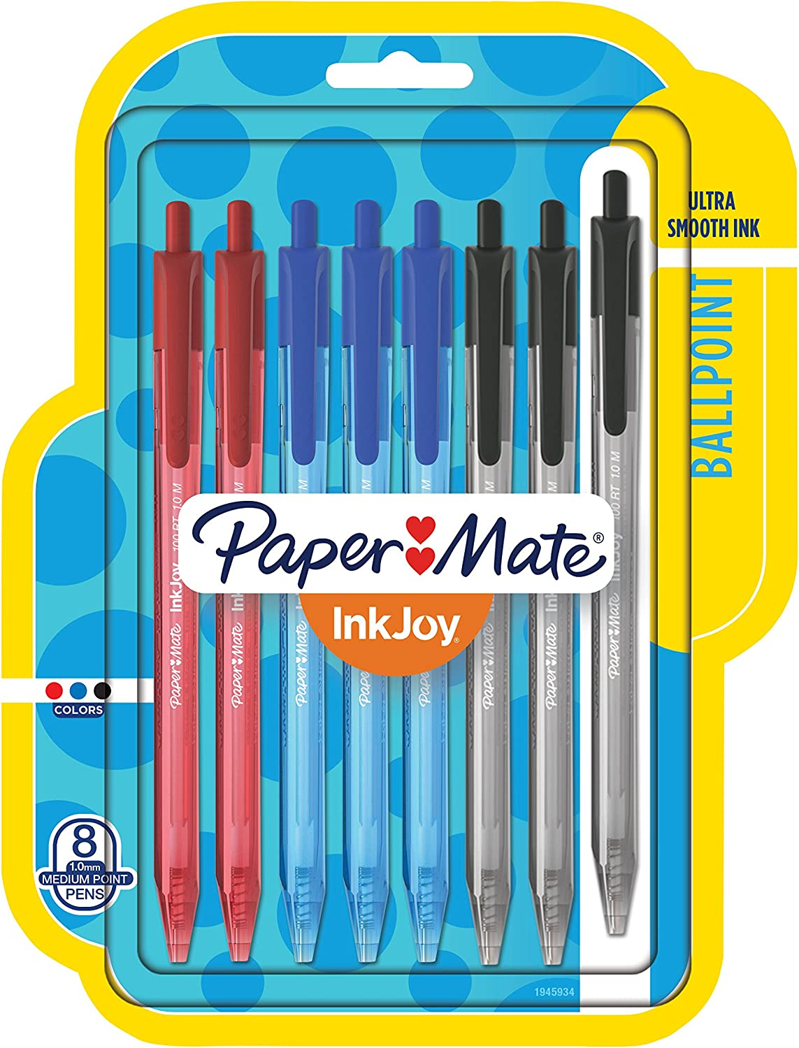 Papermate Inkjoy  Retractable Ballpoint Pens 4 pack Blue Black Red comfort grip