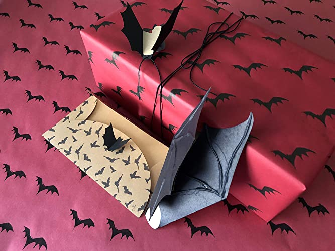Gothic Bat Gift Wrap Set - Matching Gift Wrap, Card and Gift Tag - Roll of Handmade Flying Bats Wrapping Paper, Handmade Vampire Bat Greeting Card AND Bat ...